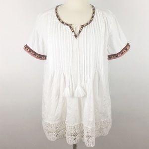 Tops - NWOT peasant boho prairie embroidered tassel lace